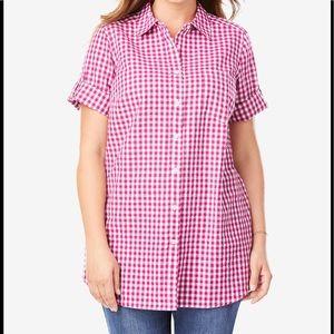 Woman Within NWOT Seersucker Shirt, Large 18/20